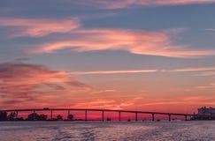 在Clearwater海滩,佛罗里达的日落 风景 海湾墨西哥 都市风景 图库摄影
