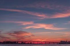 在Clearwater海滩,佛罗里达的日落 风景 海湾墨西哥 免版税图库摄影