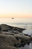 在Clifton海滩,开普敦,南非的日落 免版税库存照片