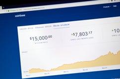在Coinbase hom的Bitcoin USD价格 库存图片