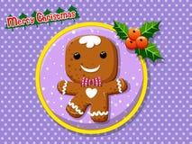 在colorf的圣诞快乐逗人喜爱的动画片姜饼人曲奇饼 免版税图库摄影