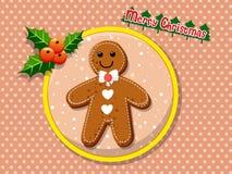 在colorf的圣诞快乐逗人喜爱的动画片姜饼人曲奇饼 免版税库存照片