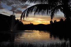 在Community湖的佛罗里达日落 免版税库存图片