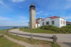 在Conanicut海岛的Beavertail光 免版税库存照片