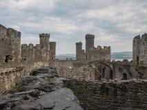 在Conwy城堡,威尔士的看法 免版税图库摄影