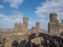 在Conwy城堡,威尔士的看法 库存图片