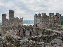 在Conwy城堡,威尔士的看法 图库摄影