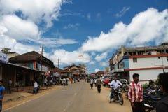 在Coorg,卡纳塔克邦的街道 免版税库存照片