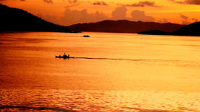 在Coron口岸的日落 图库摄影