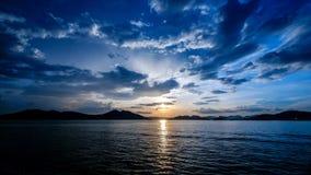 在Coron海的日落  图库摄影