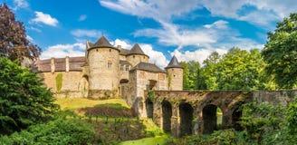 在Corroy在那慕尔-比利时的省的le Chateau城堡的全景  图库摄影