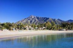 在Costa del Sol的马尔韦利亚海滩 免版税库存图片