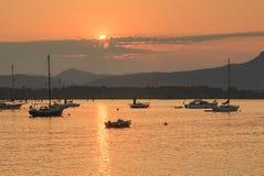 在Cowichan海湾的日落在不列颠哥伦比亚省 库存图片
