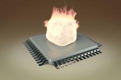 在cpu顶部的火火焰 库存图片
