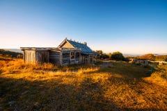 在Craigs小屋上的日落在维多利亚女王时代的阿尔卑斯,澳大利亚 图库摄影