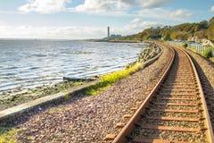 在Culross苏格兰的铁路轨道 库存照片