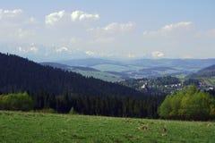 在Czorsztyn和Tatras山的城堡 免版税库存照片