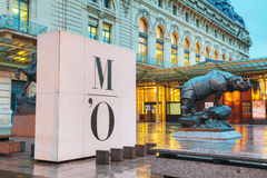 在D `奥赛博物馆的犀牛雕塑在巴黎 图库摄影