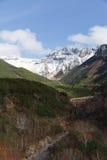 在Daisetsuzan的多雪的山峰 免版税库存图片