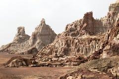 在Dallol火山里面爆炸火山口, Danakil消沉,埃塞俄比亚 免版税库存照片