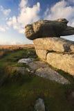 在Dartmoor的花岗岩突岩 免版税库存照片