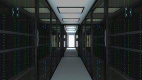 在datacenter、网网络和互联网电信技术,大数据存储的现代服务器室内部和 库存例证
