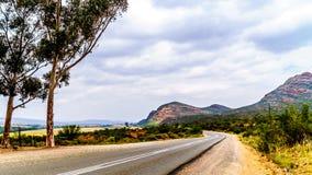 在De Rust镇和Oudtshoorn之间的全国路N12在西开普省省的小的南部非洲的干旱台地高原地区 库存图片