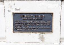 在Dealey广场纪念碑的匾 库存图片