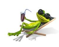在deckchair的青蛙 库存照片