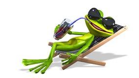 在deckchair的青蛙 向量例证