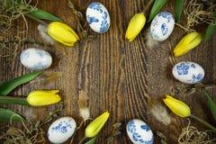 在decoupage样式的复活节装饰 波兰设计 库存图片