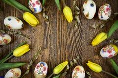 在decoupage样式的复活节装饰 波兰设计 免版税库存图片