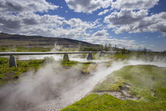 在Deildartunguhver的管子在冰岛 库存图片