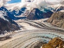 在Denali国家公园,阿拉斯加山的冰川  免版税库存图片