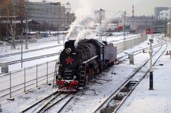 在depo的蒸汽机车 免版税库存图片