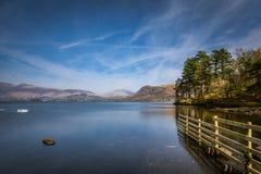 在Derwentwater湖在湖区,英国的广角看法 库存照片