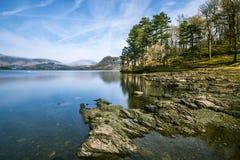 在Derwentwater湖在湖区,英国的广角看法 免版税库存图片