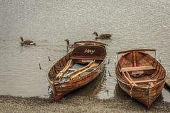 在Derwentwater湖的出租小船 库存图片