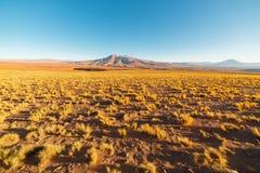 在desertic安地斯山的高地的日落,南玻利维亚 免版税库存照片