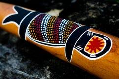 在Didgeridoo的土产澳大利亚艺术 库存图片