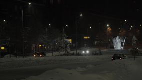 在Dimitrovgrad,保加利亚街道的夜间bokeh  股票录像