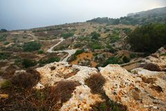 在Dingli,马耳他附近的风景 库存图片