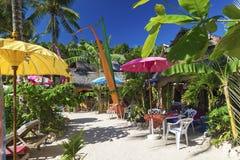 在diniwid博拉凯菲律宾的海滩酒吧 免版税库存图片