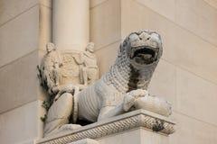 在Diocletian的宫殿的狮子雕象分裂的 免版税库存照片