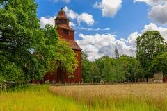 在Djurgarden海岛上的18世纪木Seglora教会在库存 库存图片
