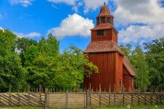 在Djurgarden海岛上的18世纪木Seglora教会在库存 图库摄影