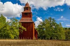 在Djurgarden海岛上的18世纪木Seglora教会在库存 免版税库存照片