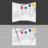 在DL大小的三部合成的小册子模板设计 免版税图库摄影