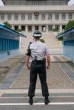 在DMZ的韩国卫兵 免版税库存照片