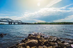 在Dnieper的全景 库存图片